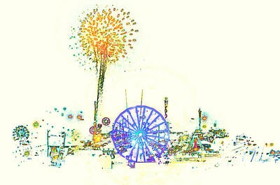 Fire Works Painting - Fireworks On The Midway by David Lee Thompson