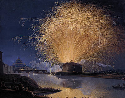 Painting - Fireworks Over Castel Sant'angelo In Rome by Treasury Classics Art