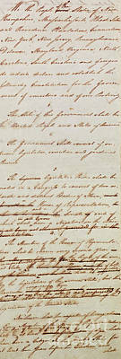 First Amendment Drawing -  First Draft Of The Constitution Of The United States, 1787 by American School
