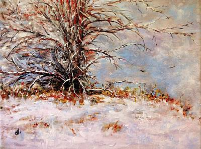 Snow Drops Painting - First Snow.. by Cristina Mihailescu