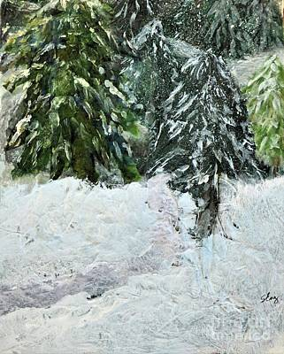 Snow Drifts Mixed Media - First Snow by Sharon Eng