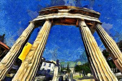 Painting - Fish Eye View Of The Gate Of Athina Archegetis  by George Atsametakis
