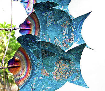 Kinetic Copper Wind Sculpture - Fish Wind Sculpture by Rick Hewitt