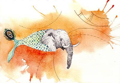 Surreal Drawing - Fishephant by Ida Noelle Calumpang
