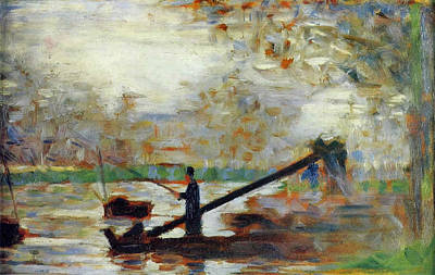 Fisherman In A Moored Boat Art Print by Georges Seurat