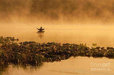 Photograph - Fisherman On Lake Cassidy by Jim Corwin