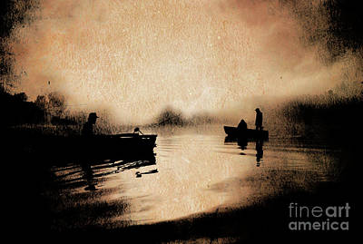 Photograph - Fisherman On Lake Cassidy Sunrise by Jim Corwin