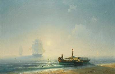 Sea Painting - Fishermen At Dawn by MotionAge Designs