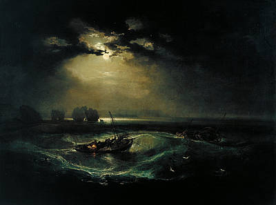 Moonlit Painting - Fishermen At Sea by JMW Turner