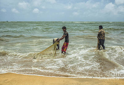 Photograph - Fishermen Cleaning Nets by Patricia Hofmeester