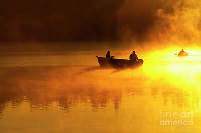 Photograph - Fishermen In Small Boat Fishing by Jim Corwin