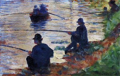 France Painting - Fishermen On The Banks Of The Seine by Georges Seurat