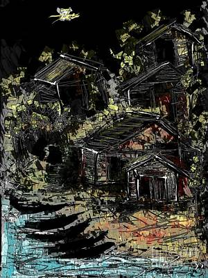 Digital Art - Fishermen's Village by Subrata Bose