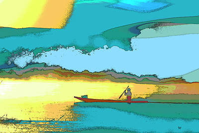 Mixed Media - Fishing At Sunset by Charles Shoup