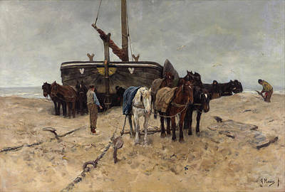 Horse Painting - Fishing Boat On The Beach by Anton Mauve