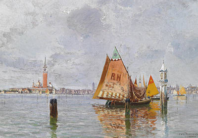Boats In Water Painting - Fishing Boats In The Lagoon Of Venice by Carlo Brancaccio