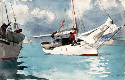 Winslow Homer Drawing - Fishing Boats. Key West by Winslow Homer