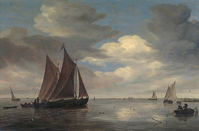 Holland Painting - Fishing Boats On A River by Salomon van Ruysdael
