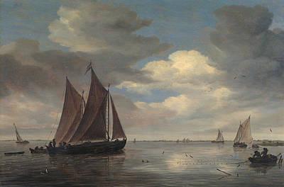 Fishing Boats On A River Art Print by Salomon van Ruysdael