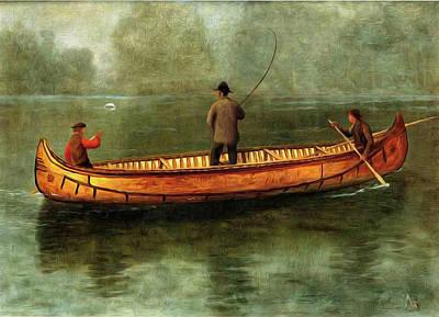 Canoe Digital Art - Fishing From A Canoe by Albert Bierstadt