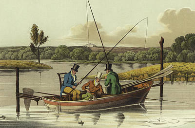 Boats In Water Drawing - Fishing In A Punt  by Henry Thomas Alken
