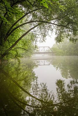 Fishing In The Fog Art Print by Debra and Dave Vanderlaan