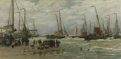 Painting - Fishing Pinks In Breaking Waves  Hendrik Willem Mesdag  C 1875  C  1885 by R Muirhead Art