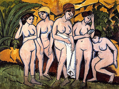 Out Of The Woods Painting - Five Bathing Women At A Lake by Ernst Ludwig Kirchner