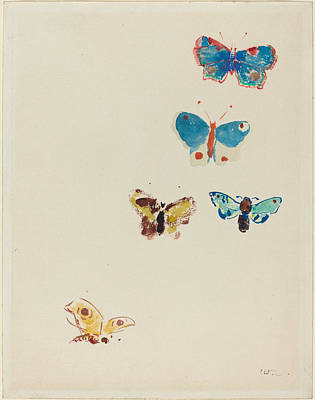 Painting - Five Butterflies by Odilon Redon