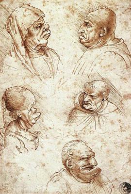 Closeup Drawing - Five Caricature Heads by Leonardo da Vinci