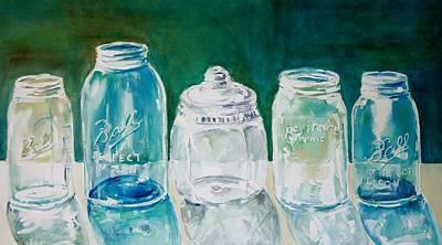 Five Jars In Window  Original by Sukey Watson