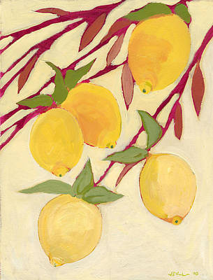 Five Lemons Art Print by Jennifer Lommers