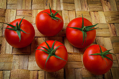 Five Tomatoes Art Print by Garry Gay