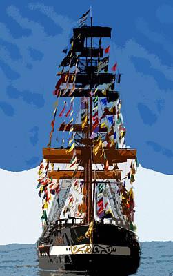 Pirate Ship Digital Art - Flags Of Gasparilla by David Lee Thompson