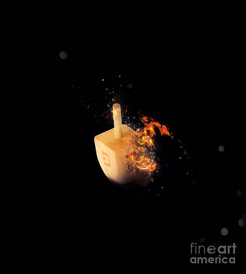 flaming Dreidel Print by Ilan Rosen