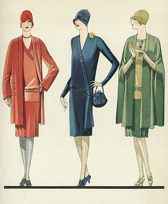Flappers In Frocks And Coats, 1928 Art Print by American School