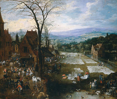 Outlook Painting - Flemish Market And Washing Place by Jan Brueghel the Elder