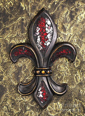 New Orleans Photograph - red mosaic Fleur-di-lis by Tony Cordoza
