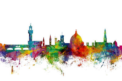 Florence Italy Skyline Print by Michael Tompsett