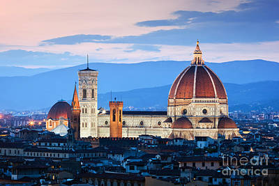 Photograph - Florence, Italy Sunset Skyline. Cathedral Of Saint Mary Of The Flowers by Michal Bednarek