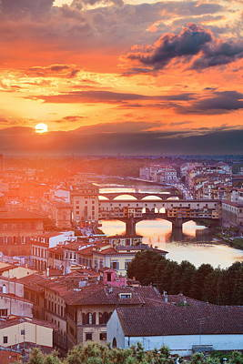 Photograph - Florence Skyline Sunset by Songquan Deng
