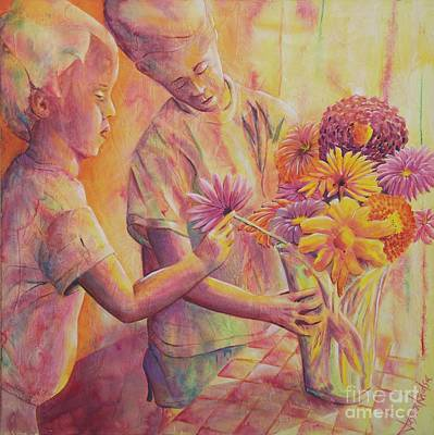 Painting - Flower Arranging by Jaswant Khalsa