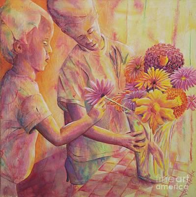 Painting - Flower Arranging by Jaswant Khalsa