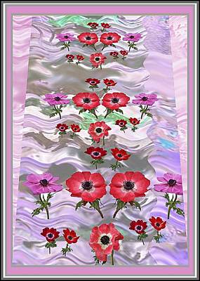 Mixed Media - Flower Mania Anemone Fantasy Wave Design Created Of Garden Colors Unique Elegant Decorations by Navin Joshi