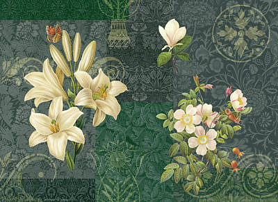 Quilted Tapestries Painting - Flower Patchwork 2 by JQ Licensing