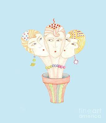 Drawing - Flower Pot Ladies by Nareeta Martin