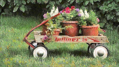 Digital Art - Flower Wagon by Leslie Montgomery