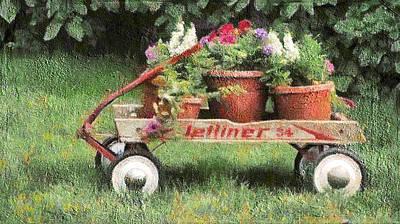 Digital Art - Flower Wagon by Leslie Montgomery