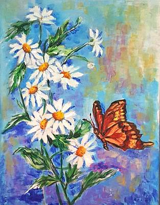 Painting - Flowers And Butterfly  by Hae Kim
