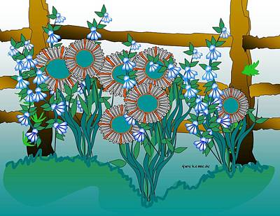 Flowers And  Fence Art Print